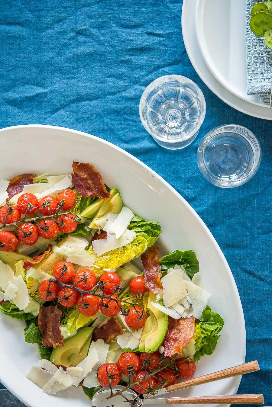 Salatherzen Mit Bacon Und Im Ofen Gerösteten Tomaten Salat Mit